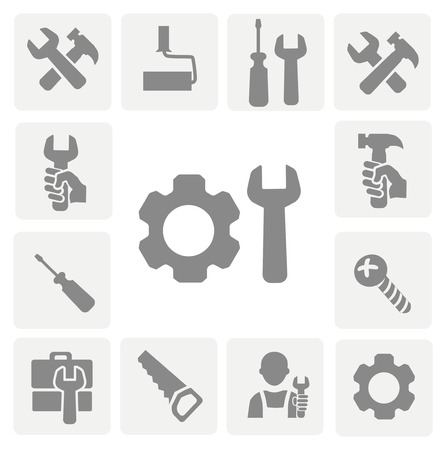 hand wrench: working tools isolated icons set of hammer wrench screwdriver and measuring tape vector Illustration