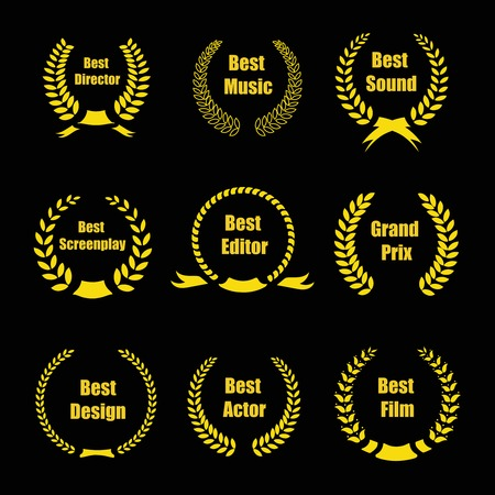academy awards: Vector Film Awards, gold award  wreaths on black background