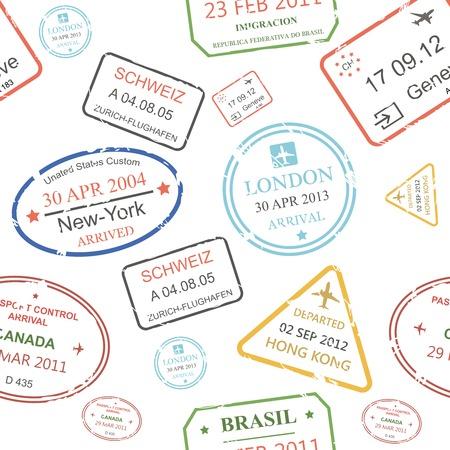 passeport: Seamless fond d'un proche emballé assortiment de cachets et les timbres à main de bureaux de contrôle des passeports sur fond transparent de différents pays et destinations touristiques dans un concept Voyage et vacances