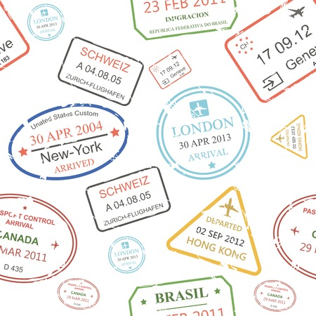 Seamless background pattern of a close packed assortment of cachets and hand stamps of passport control offices on transparant background from different countries and tourist destinations in a travel and vacation concept