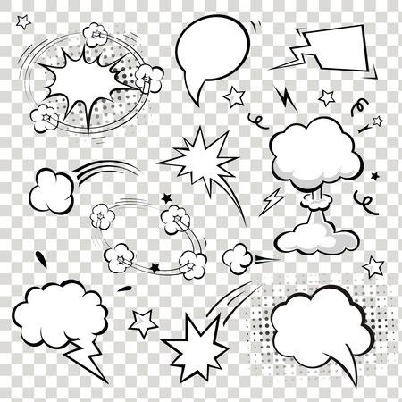 Comic Speech Bubbles. vector illustration. Black and white  イラスト・ベクター素材