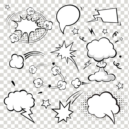 Comic Speech Bubbles. vector illustration. Black and white Ilustração