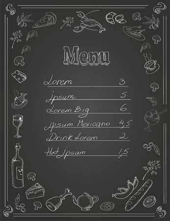main board: Restaurant Food Menu Design with Chalkboard Background and place for text Illustration