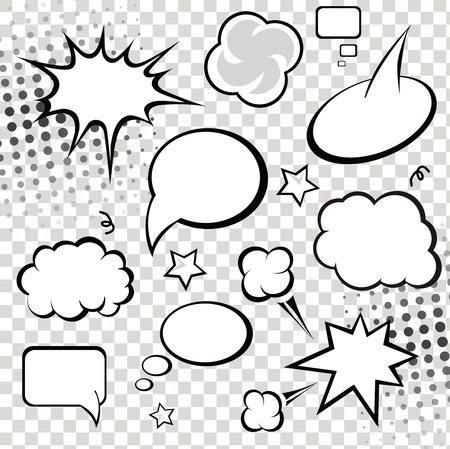 Comic Speech Bubbles. vector illustration. Black and white Çizim