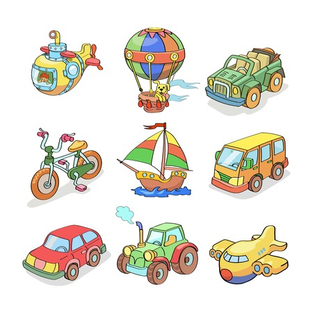 Cartoon collection of  Transportation- Colored isolated Vector