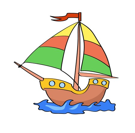 boat cartoon colorful   on  a white background