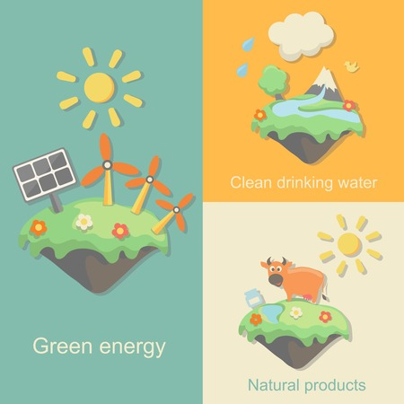 bunner: Green Energy, nature products clean  drinking water concept vector