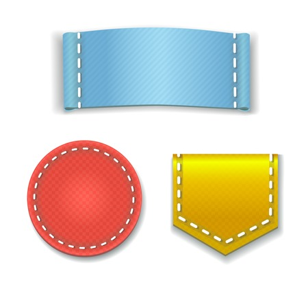 red stitches: Collection of Colorful Blank Labels or  Badges With a place for text Illustration