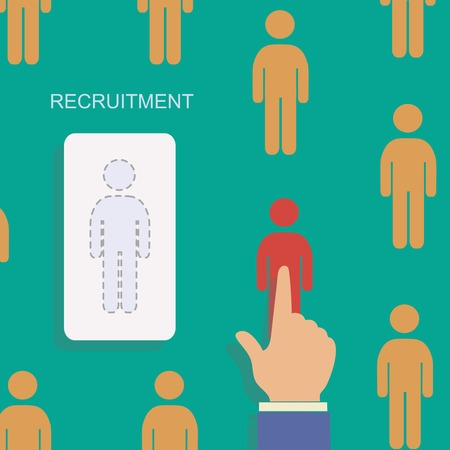 job hunting: Human resource and recruitment modern  concept. Hand select one persons of stack