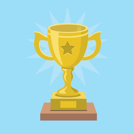 award trophy: Trophy golden Cup and  award Icon  isolated