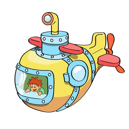 Submarine cartoon colored Vector