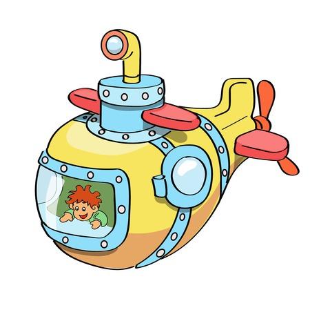 Submarine cartoon colored Vettoriali