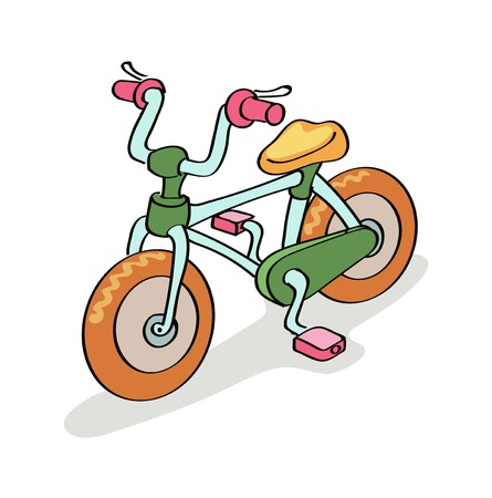treadle: Bicycle cartoon colorful,  isolated on white background