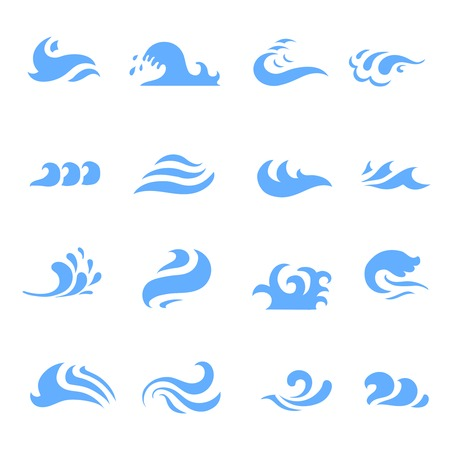 illustration of set of wave symbol on  isolated white background  イラスト・ベクター素材