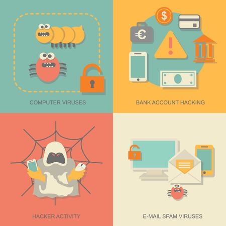computer viruses: Hacker activity computer and e-mail spam  viruses icons set isolated vector illustration Illustration