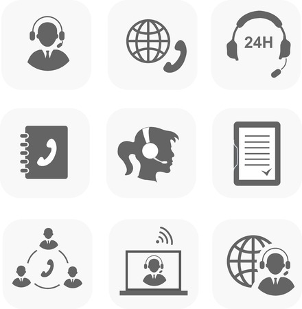 Call center servise set icons  phone assistance and headset customer care  isolated