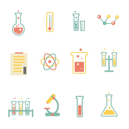 beaker: set of flat science icons