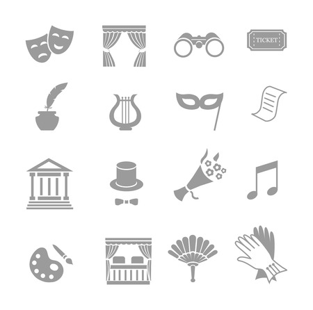 acting: Theater acting  icons set black vector isolated