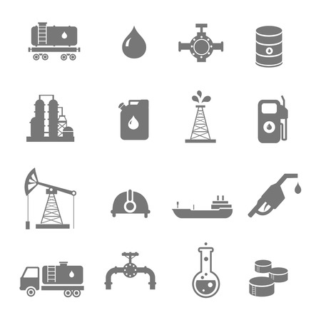 Olie-industrie benzine verwerking symbolenpictogrammen met oliebaron tankwagen aardolie kan en pomp geïsoleerd vector illustratie