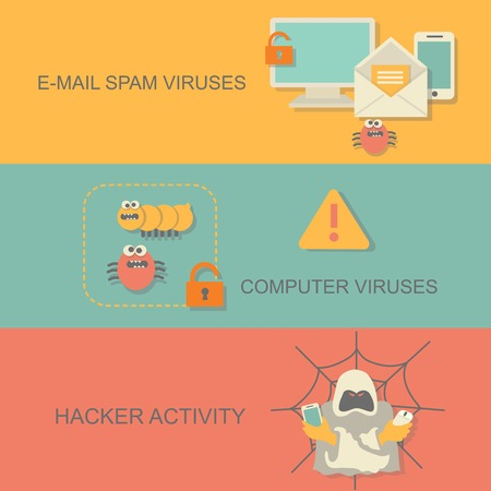 computer viruses: Hacker activity computer and e-mail viruses concept