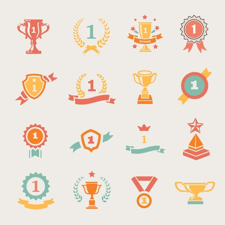 First Place Badges and Winner Ribbons vector colored illustration Illustration