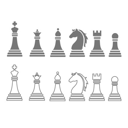 regina: chess pieces including king, queen, rook, pawn, knight, and bishop  icons, vector set Illustration
