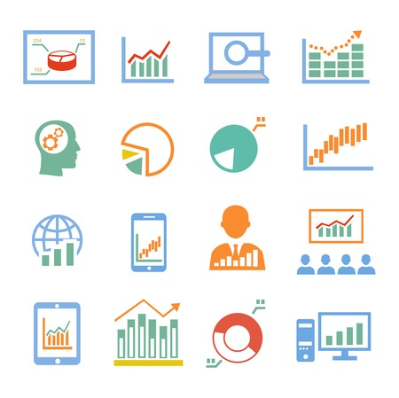 bell curve: Market analysis statistics, business diagrams icons colored
