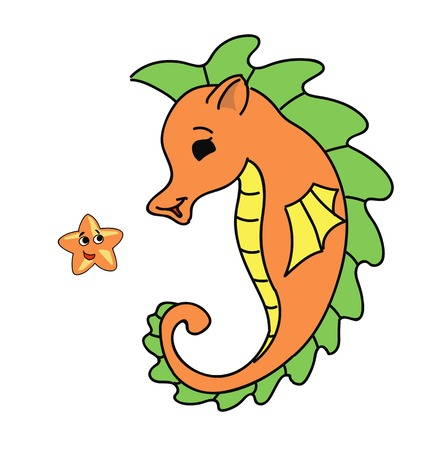 horsefish: dibujos animados caballito de mar ilustraci�n vectorial Vectores