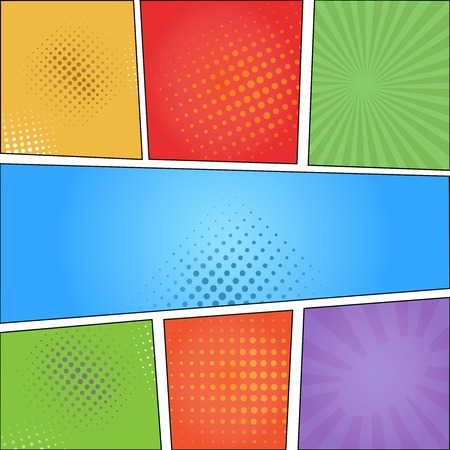 Comics pop art style blank layout template  with clouds beams and dots pattern background  illustration