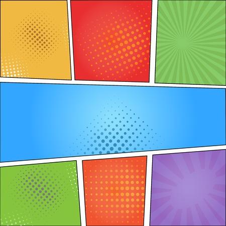 Comics Pop-Art-Stil leere Layout-Vorlage mit Wolken Balken und Punkte Muster Hintergrund Illustration Illustration
