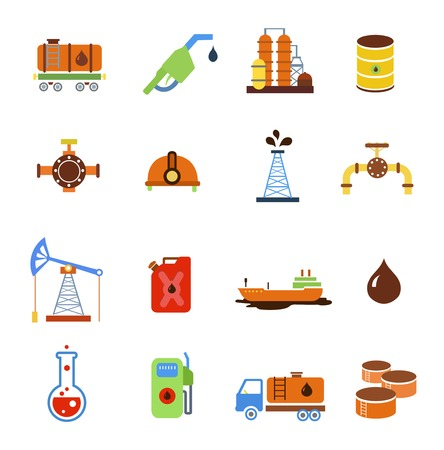 tank ship: Oil extraction gas production transportation  and distribution pictograms collection with industrial complex petroleum pump isolated vector illustration Illustration