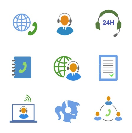 call center agent: Call center service icons set of  contacts mobile phone and communication isolated vector illustration Illustration