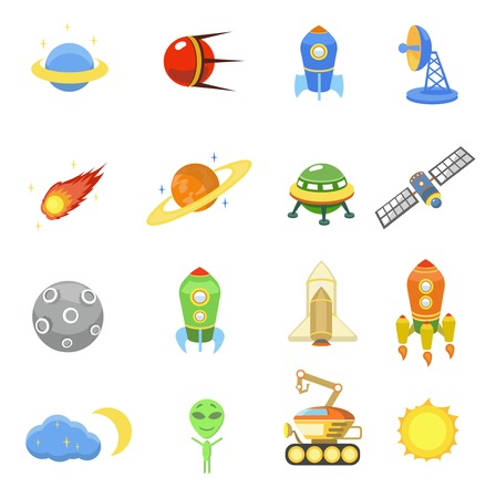 Space icons set of rocket  galaxy  planet ufo sun vector illustration Vector