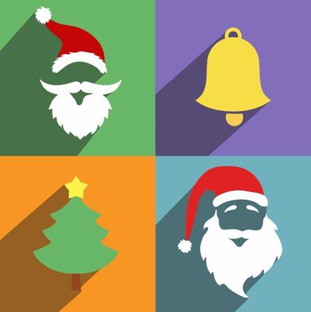 handbell: Santa claus and christmas and New Year flat design long shadows