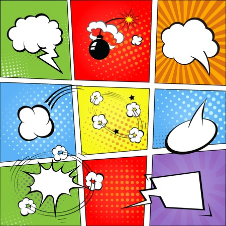 Comic speech bubbles and comic strip background   illustration Stock Photo