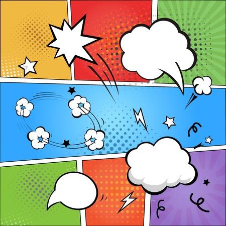 Stripverhaal en komische tekstballonnen op kleurrijke halftone achtergrond vector illustratie Stockfoto - 34137932
