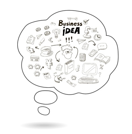 Doodle speech bubble icon with business  idea infographics isolated  illustration illustration