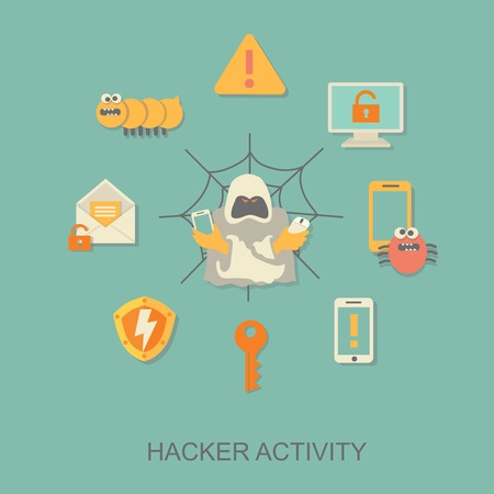 criminal activity: Hacker activity and computer viruses  concept vector Illustration