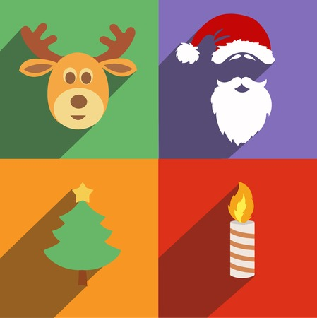 Christmas and New Year Santa icons isolated  Set of colored symbols with long shadows. Collection of flat elements for your design.  Vector illustration. Vector