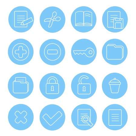 decrypt: Navigation icon and buttons set.  Vector illustration of different interface web icons  folder, delete, zoom, lock, cut, loupe