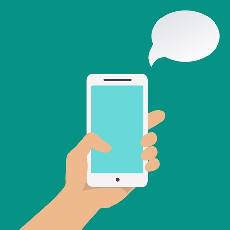 using phone: infographics with  a hand holding Smartphone  and speech bubble