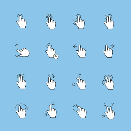 gestures: Touch Gestures Icons set, thin line,  modern  collection