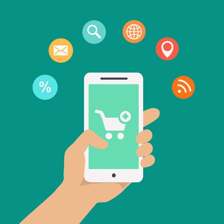 holding smart phone: Smartphone apps infographics with a hand holding a phone with circular icons for shopping cloud computing mail wifi  search and route finder or maps