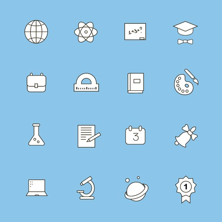 Education and learning flat thin line  icons set, modern  collection of high school objects, college items, teaching symbols, educational equipment. photo