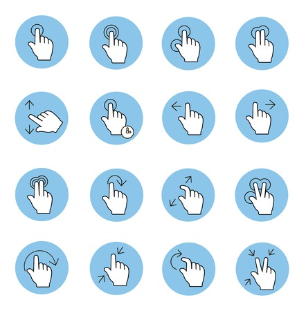 nudge: Touch gestures icons  set isolated thin line