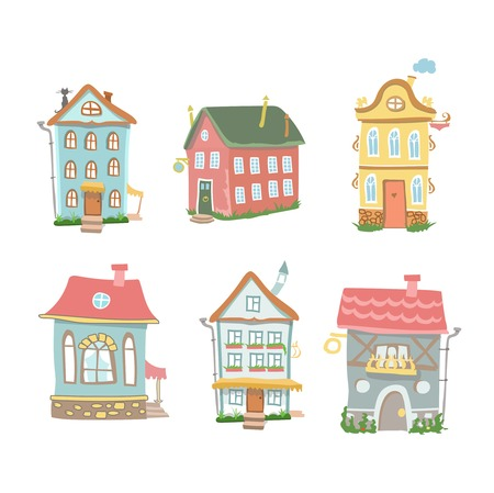 tranquil scene on urban scene: Cute cartoon  set of hand drawn houses  Home Sweet Home on white background Stock Photo