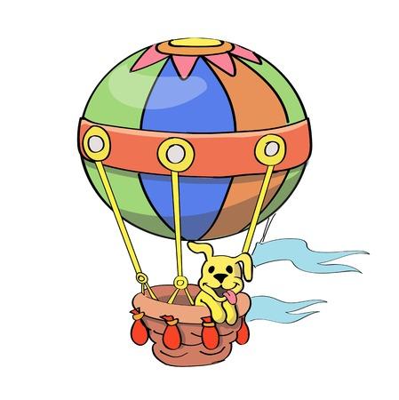 adventure aeronautical: Cartoon Balloon  isolated on white background Stock Photo
