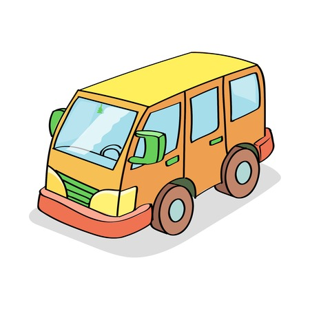 conveyances: Cartoon Bus  Colored isolated on white background