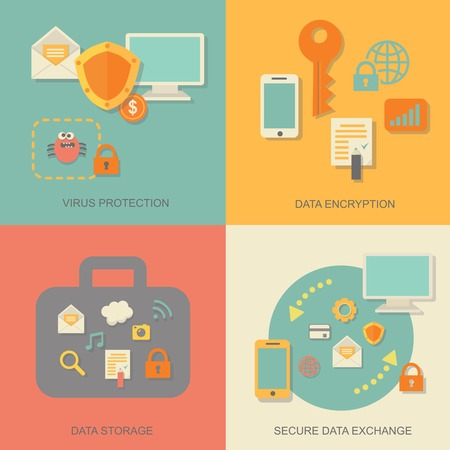 security technology: Business data protection technology and cloud network security concept infographic design elements  illustration Stock Photo