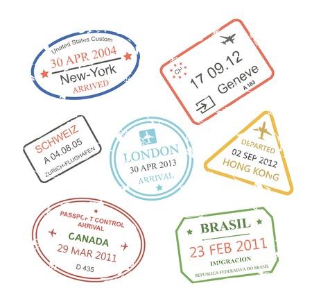 International business travel visa stamps set   illustration illustration